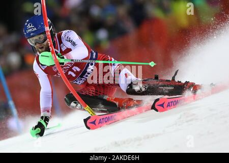 Madonna di Campiglio, Italy. 8th January, 2020. FIS Alpine Ski World Cup Men's Night Slalom in Madonna di Campiglio, Italy on January 8, 2020, Marco Schwarz (AUT) in action. Photo: Pierre Teyssot/Espa-Images Credit: European Sports Photographic Agency/Alamy Live News - Stock Photo