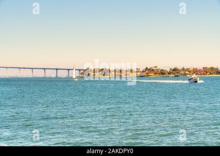 San Diego waterfront with Coronado Bay Bridge on  background - Stock Photo