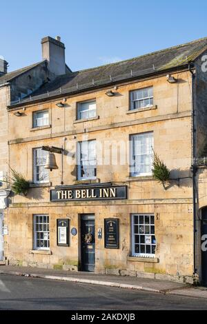 The Bell inn at christmas time. Moreton in Marsh, Cotswolds, Gloucestershire, England - Stock Photo