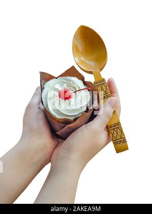 Cottage cheese cake with cherries and cream on woman hands isolated on white background. - Stock Photo