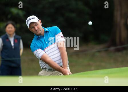 FANLING,HONG KONG SAR,CHINA: JANUARY 9th 2020. Hong Kong Open Golf Round . Sam Brazel by the 6th green during the opening round of the Hong Kong Open.Alamy Live news/Jayne Russell - Stock Photo