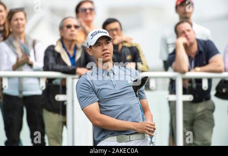 FANLING,HONG KONG SAR,CHINA: JANUARY 9th 2020. Hong Kong Open Golf Round. Matthew Cheung from Hong Kong on the 1st tee during the opening round of the Hong Kong Open.Alamy Live news/Jayne Russell - Stock Photo
