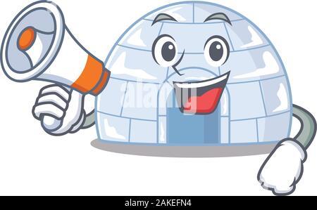 An icon of igloo having a megaphone - Stock Photo