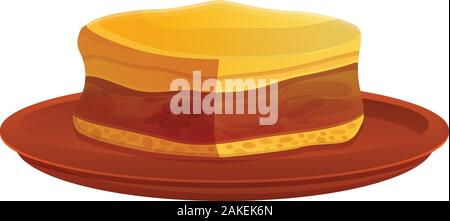 Greek cheesecake icon. Cartoon of greek cheesecake vector icon for web design isolated on white background - Stock Photo