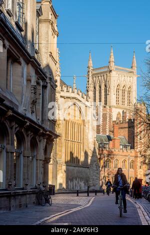 UK, England, Cambridgeshire, Cambridge, Trinity Street and St John's College - Stock Photo