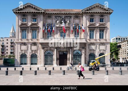 MARSEILLE, FRANCE - MAY 17, 2015: A view of the facade of the Hotel de Ville, the City Hall, of Marseille, France, in Le Panier quartier - Stock Photo