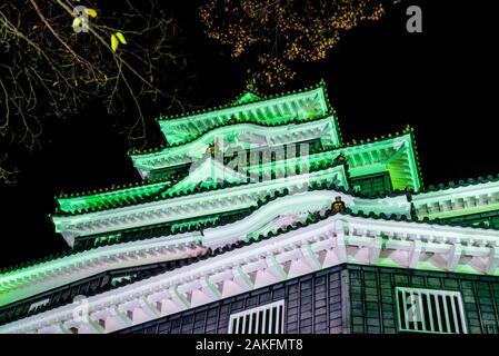 Night view of Okayama Castle, a historic samurai castle in Okayama, Japan. - Stock Photo