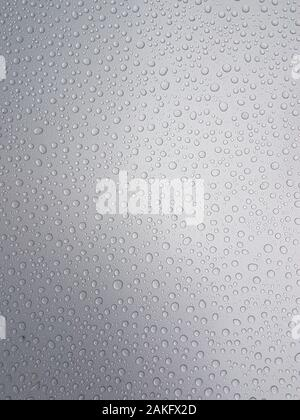 Drops of water on a gray background with light shading - Stock Photo