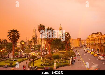 Arequipa, Peru - Basilica Cathedral of Arequipa at Plaza de Armas, main square of the city. - Stock Photo