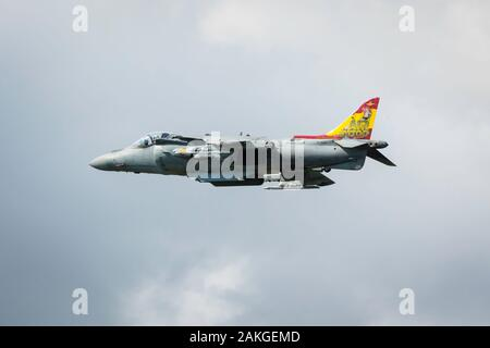 Fairford, Gloucestershire, UK - July 20th, 2019: Spanish Navy EAV-8B Harrier II Displays at the Fairford International Air Tattoo 2019 - Stock Photo