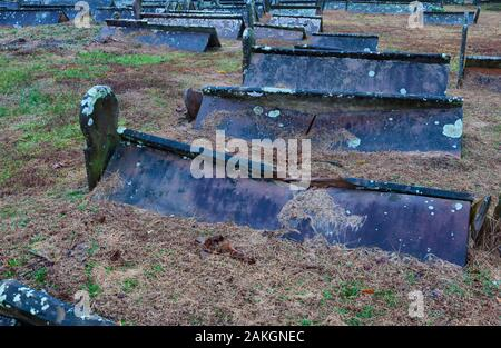 Sparta,Tennessee,USA-December 29, 2019:  Tent graves of the 1800's in Mt. Gilean Cemetery in Sparta, Tennessee on a stormy day. - Stock Photo