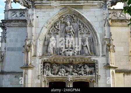 France, Indre et Loire, Loire valley listed as World Heritage by UNESCO, the castle of Amboise, St. Hubert Chapel where Leonardo da Vinci is buried - Stock Photo
