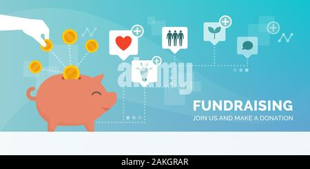 Fundraising promotional advertisement with hand putting a coin in a piggy bank, supporting cause and charity concept