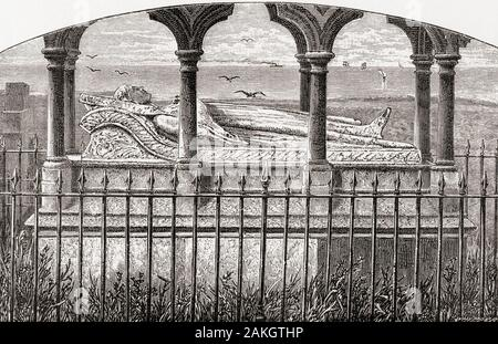 The tomb of Grace Darling, St Aidan's Church, Bamburgh, England.  Grace Horsley Darling, 1815 – 1842.  English lighthouse keeper's daughter who took part in the rescue of survivors from the shipwrecked Forfarshire in 1838.  From English Pictures, published 1890.