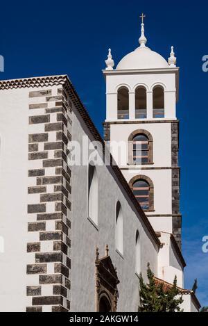 Spain, Canary Islands, Tenerife Island, Garachico, Iglesia de Santa Ana church, bell tower
