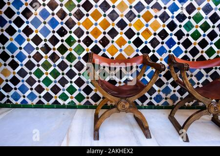 Moorish design and architecture in the Nasrid palaces at the Alhambra in Granada, Andalucia, Spain, Europe