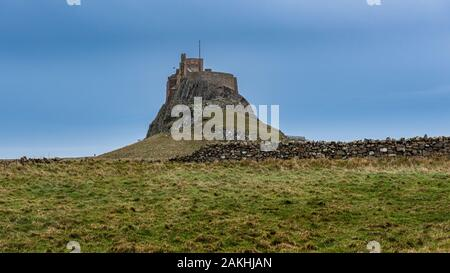 Lindisfarne Castle. Is a 16th-century castle located on Holy Island, near Berwick-upon-Tweed, Northumberland, England - Stock Photo
