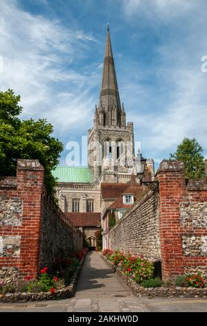 St Richard's Walk leading to the south side of Chichester cathedral in West Sussex. - Stock Photo