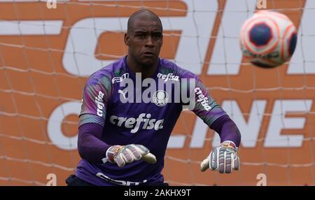 SÃO PAULO, SP - 09.01.2020: TREINO DO PALMEIRAS - Goalkeeper Jailson of SE Palmeiras during training at the Football Academy. (Photo: Cesar Greco/Fotoarena) - Stock Photo