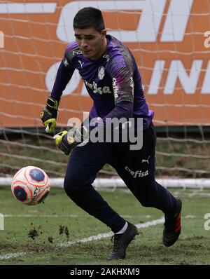 SÃO PAULO, SP - 09.01.2020: TREINO DO PALMEIRAS - Goalkeeper Vinicius of SE Palmeiras during training at the Football Academy. (Photo: Cesar Greco/Fotoarena) - Stock Photo