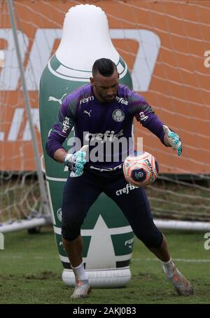 SÃO PAULO, SP - 09.01.2020: TREINO DO PALMEIRAS - SE Palmeiras goalkeeper Weverton during training at the Football Academy. (Photo: Cesar Greco/Fotoarena) - Stock Photo