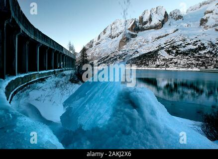 Marmolata, Passo Fedaia, Beautiful dolomites in fresh wintersnow - Stock Photo