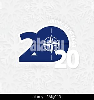 Happy New Year 2020 with flag of Nato on snowflake background. Greeting Nato with new 2020 year. - Stock Photo