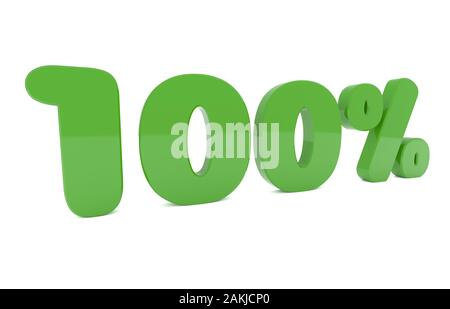 One hundred percent green on a white background, think green ord 100 % green energy concept, 3d rendering - Stock Photo
