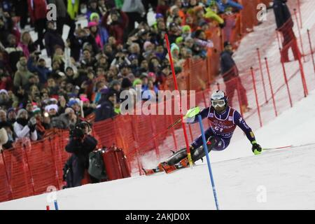 Madonna Di Campiglio, Italy. 8th Jan, 2020. tonetti riccardo (ita)during FIS AUDI World Cup - Slalom Men, Ski in Madonna di Campiglio, Italy, January 08 2020 - LPS/Sergio Bisi Credit: Sergio Bisi/LPS/ZUMA Wire/Alamy Live News - Stock Photo
