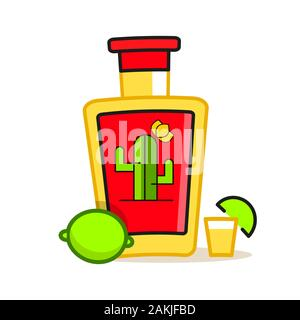 Hand Draw Of Tequila Bottle. Vector Illustration. - Stock Photo
