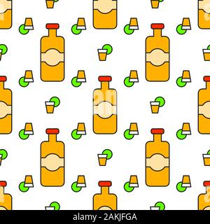 Tequila Cocktail Drinks Vector Illustration Seamless Pattern Design Element For Label And Poster - Stock Photo