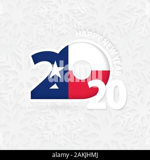 Happy New Year 2020 with flag of US state Texas on snowflake background. Greeting Texas with new 2020 year. - Stock Photo