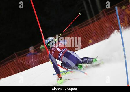 Madonna di Campiglio, Italy, 08 Jan 2020, gross stefano (ita) during FIS AUDI World Cup - Slalom Men - Ski - Credit: LPS/Sergio Bisi/Alamy Live News - Stock Photo