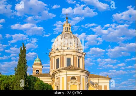Basilica dei Santi Ambrogio e Carlo al Corso or Basilica of Saints Ambrose and Charles on the Corso, Rome, Italy - Stock Photo