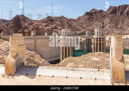 Boulder City, Nevada, USA- 01 June 2015: View of the Hoover Dam, a concrete gravitational arc dam, built in the Black Canyon on the Colorado River, on - Stock Photo