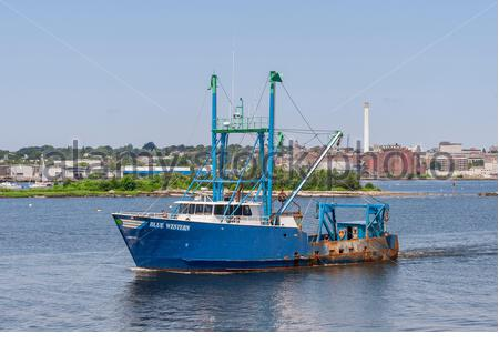 Fairhaven, Massachusetts, USA - July 26, 2019: Scalloper Blue Western outbound from Fairhaven - Stock Photo