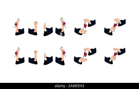 Hands holding graduation diploms icon set design, University education school college academic ceremony degree and student theme Vector illustration - Stock Photo