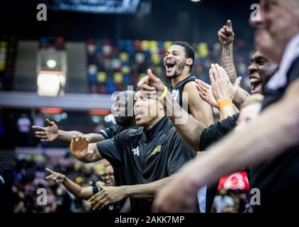 London, UK, 13 October 2019.  London Lions win the third annual British Basketball All-Stars tournament at the Copper Box Arena,  London, UK. London Lions' bench cheer. copyright Carol Moir/Alamy. - Stock Photo