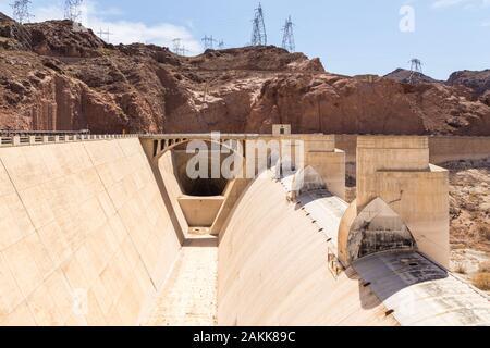 Boulder City, Nevada, USA- 01 June 2015: Hoover Dam construction element. Concrete gravitational arc dam, built in the Black Canyon on the Colorado Ri - Stock Photo