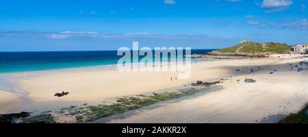 Beautiful golden sandy beach at Porthmeor Beach St Ives Cornwall England UK Europe
