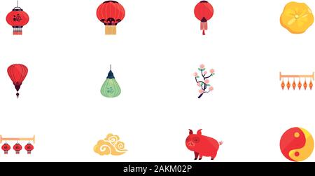 Chinese icon set design, China culture asia travel landmark famous asian and oriental theme Vector illustration