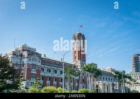 Taipei, Taiwan - February 2019: Presidential office building in Taipei, Taiwan. The building is a famous historical landmark in downtown Taipei. - Stock Photo