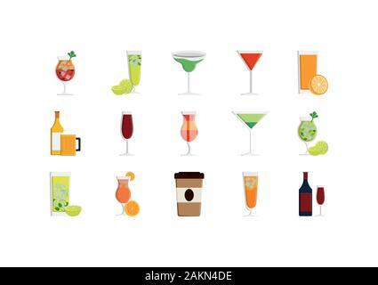 drinks icon set design, Beverage liquid menu restaurant lunch refreshment kitchen and meal theme Vector illustration - Stock Photo