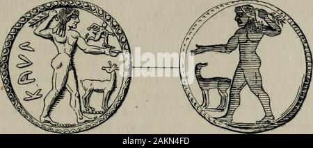 Zeus : a study in ancient religion . repeated, incuse, on the reverse side of the coin, though here the smallrunner is mostly omitted. One specimen (fig. 890) is known bearing the addi-tional legend IKETEZI(A), with which festival-name cp. Od. 13. 213 Z^vs acfyeas Orphic Theogonies and Cosmogonic Eros 104 Tio-aiTo iKerrjaios and the evidence collected by O. Jessen in Pauly—WissowaReal-Enc. viii. I592f. {^Brit. Mus. Cat. Coins Italy p. 334ff-, Hunter Cat. Coinsi. 126 pi. 9, 8, cp. i. 127 f. pi. 9, 9f., Babelon Monn.gr. rom. ii. i. 1460fif. pis. 70,14f., 71, I—6, Garrucci Mon. It. ant. p. 155 f. - Stock Photo