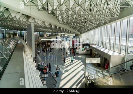 Frankfurt, Germany - July 2019: Frankfurt Airport architecture in terminal with flight information. Frankfurt am Main Airport - Stock Photo