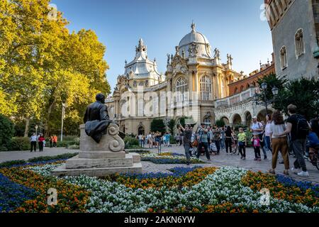 Budapest, Hungary - Vajdahunyad Castle, view from inner courtyard - Stock Photo