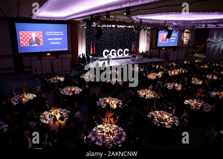 Beijing, USA. 8th Jan, 2020. Guests attend a fireside chat during the 15th anniversary and Chinese Lunar New Year gala of China General Chamber of Commerce-U.S.A. in New York, the United States, Jan. 8, 2020. Credit: Wang Ying/Xinhua/Alamy Live News - Stock Photo