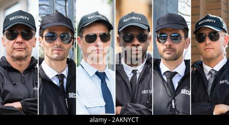 Collage Of Security Guards. Diverse Group Of People Portraits - Stock Photo