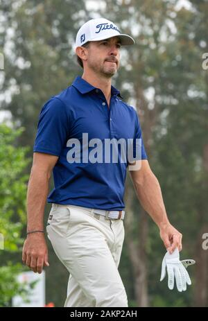 FANLING,HONG KONG SAR,CHINA: JANUARY 9th 2020. Hong Kong Open Golf Round 2. Wade Ormsby of Australia holds the lead on day 2 of the tournament.On the 1st tee.Alamy Live news/Jayne Russell - Stock Photo