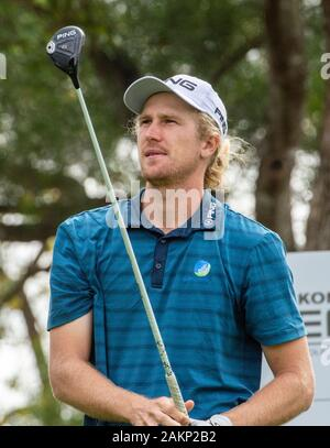 FANLING,HONG KONG SAR,CHINA: JANUARY 9th 2020. Hong Kong Open Golf Round 2. Travis Smyth of Australia on the 11th tee.Alamy Live news/Jayne Russell - Stock Photo